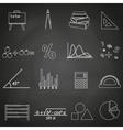 mathematics outline icons set on blackboard eps10 vector image vector image
