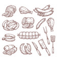 meat sausages ham salami and butcher knife vector image vector image