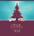 merry christmas greeting card with kids and santa vector image vector image