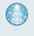 merry christmas greeting card with pine-tree vector image vector image