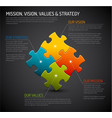 mission vision strategy and values diagram schema vector image vector image
