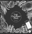 octoberfest design template hand drawn on chalk vector image vector image