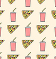 pizza slice soda cold drink paper cup colored vector image vector image