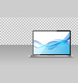 realistic computer laptop with abstract wallpaper vector image vector image