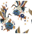 seamless pattern with mandarin ducks flowers and vector image vector image