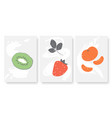 summer fruits set kiwi tangerine strawberry vector image vector image
