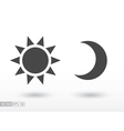 Sun and moon flat icon logo for web design mobile vector image vector image