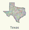 Texas line art map vector image vector image