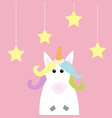 unicorn hanging stars dash line pastel color vector image vector image
