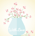 vase flowers card with love mothers day valentines vector image