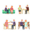 elderly people characters vector image