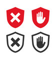 adblock and shield icons vector image vector image