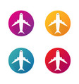 airplane icons in circle aircraft round buttons vector image