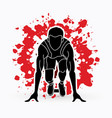athlete runner a man prepare start running action vector image vector image