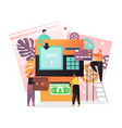 atm transactions concept for web banner vector image