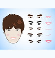 cartoon character pack facial emotions design vector image vector image