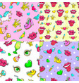 cartoon female patches seamless patterns set vector image