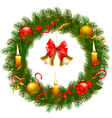 christmas wreath with tree and bell vector image