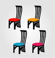 Colorful dining chairs on a white background vector image