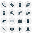 communication icons set with mailbox vector image