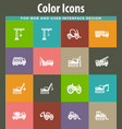 construction transport icons set vector image vector image
