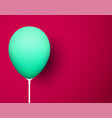 crimson background with green realistic 3d balloon vector image vector image
