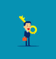 cute business person holding giant key on vector image vector image