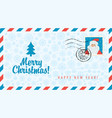 envelope with santa claus and christmas tree vector image