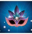 female carnival mask blue and purple feathers vector image