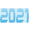 festive banner with blue snowflakes and 2021 vector image