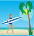 flat girl with longboard on beach vector image vector image