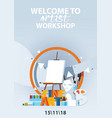 flat vertical poster for artist workshop classes vector image vector image