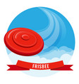 flying disk red frisbee on blue sky vector image vector image