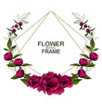 frame with peony flowers leaves geometric design vector image