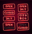 glowing retro neon open and closed signs set with vector image