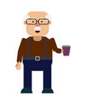 grandfather is holding a drink vector image