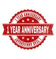 grunge textured 1 year anniversary stamp seal vector image