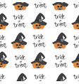 halloween pumpkin wearing witch hat seamless vector image