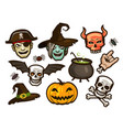 halloween set of labels or stickers holiday vector image vector image