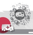Hand drawn ambulance car icons with icons vector image vector image