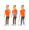 injured man in plaster cast cartoon vector image