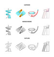 isolated object of pool and swimming icon vector image