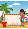 kid with blank wooden sign on beach vector image vector image