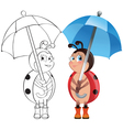 Ladybug with umbrella vector image vector image