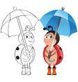Ladybug with umbrella vector image vector image