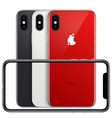 new phone front frame and red white black back vector image