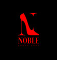 noble logo n monogram red hoes shop emblem vector image