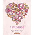 Pink Mothers Day card with big heart of flowers vector image vector image