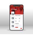 red profile welcome page ui ux gui screen for vector image vector image