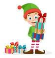 santa s helper is holding gift boxes on a white vector image